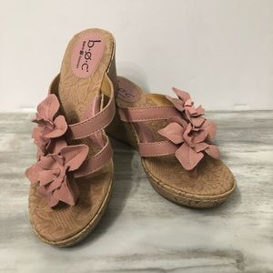 b.o.c Born Concept leather pink flower sandal